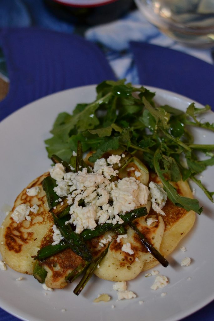 Asparagus and Feta Pancakes with Van Loveren Rhino Run Chenin BoozyFoodie