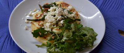 Asparagus and Feta Pancakes (with Rhino Run Chenin Blanc)