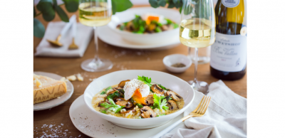 Portabellini & Spring Veg Risotto with Poached Eggs Paired with De Wetshof Bon Vallon Chardonnay  #PR