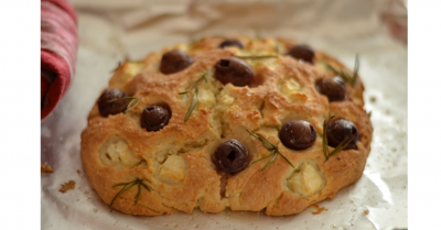 Cheat's Focaccia with Feta, Olives and Rosemary