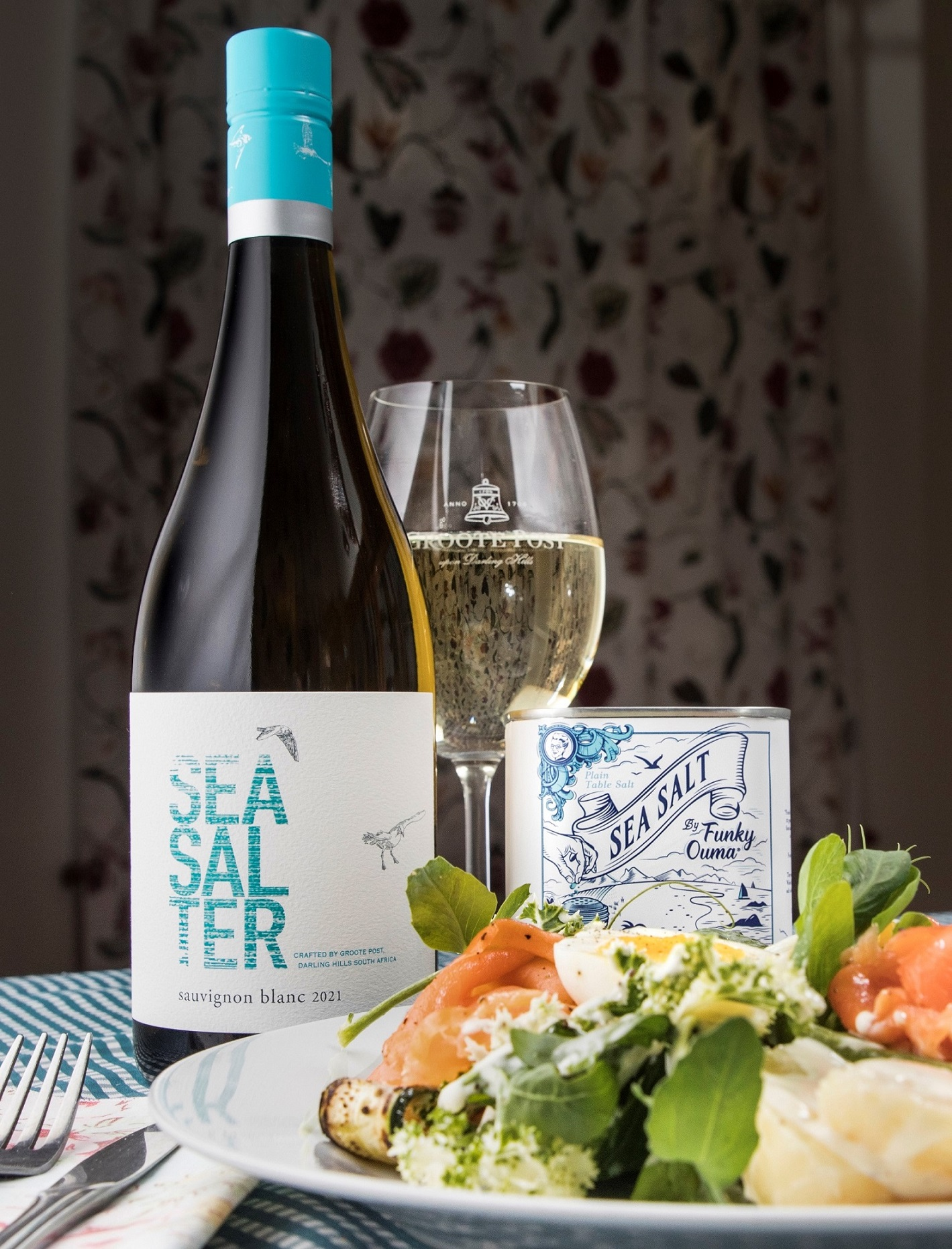 Groote Post Seasalter with Smoked Salmon Trout Salad and Funky Ouma Sea Salt
